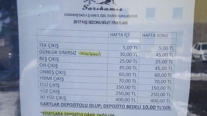 Sarıkamış Bilet Fiyatları